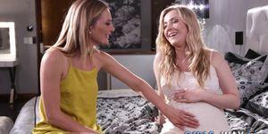 Pregnant lesbian licking