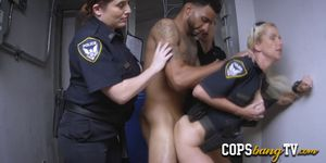 Horny female cops are ready to arrest all the criminals with huge black cocks