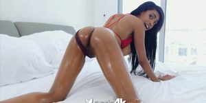 Interracial Rough Fuck With Lubed Up Ebony
