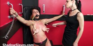 Teen slave Demis lesbian bdsm and tied latina submissive tit tormented my mistress Karina Cruel breast whipping and pegging her