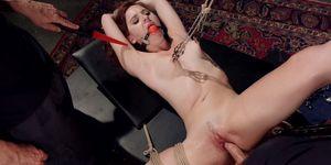 Gagged trainee toyed in rope bondage