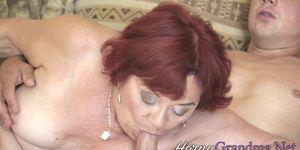 Chubby redheaded granny sucks dick