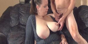 wife watches husband beat off