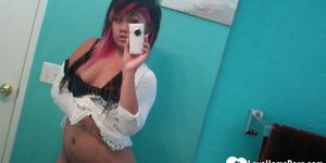 Asian with pink hair posing without her panties