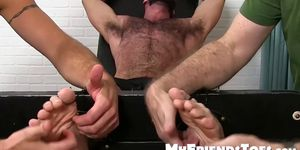 Hairy guy restrained and tickled into submission by deviants