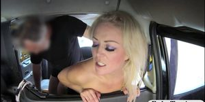 Big boobs passenger sucks off and screwed in the taxi