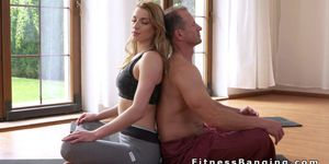 Fitness coach licks and fucks blonde in the gym Porn Videos