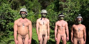 Military studs buttfuck in forest
