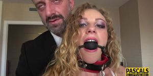 Bound submissive Angel Emily throats