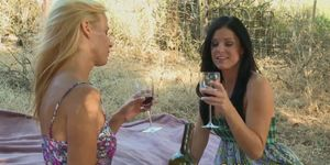 Lesbian licked outdoors