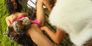 Glam fisting lovers gaping ass outdoors