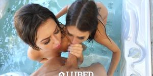 LUBED - Lubed up brunette twins Riley Reid and Melissa Moore fucked