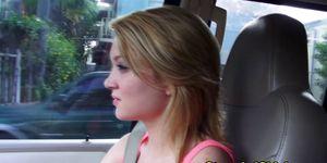 Hitchhiking blonde amateur teen flashing