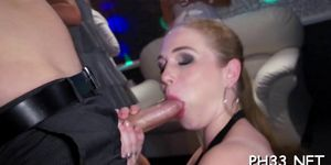 Blonde girl swallowing black dick
