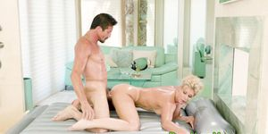 Nuru milf gives head and gets facial