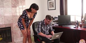 Busty MOM fucking the young computer wiz!