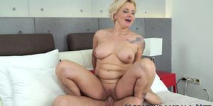Tattooed granny pounded