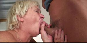Her blonde old mom and boyfriend taboo sex