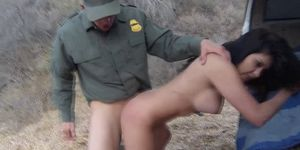 Latina fucks border guard
