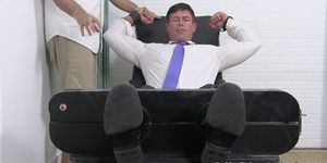 Bound Muscular Hunk in Suit Endures Tickling Torting