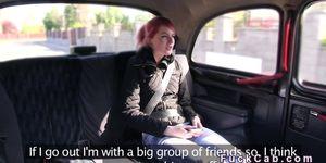 Slim pale redhead fucks huge dick in cab