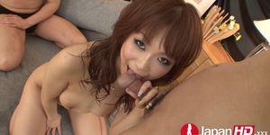 Double creampie for Japanese hottie
