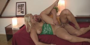 Sweet blonde bros gf spreads legs for him