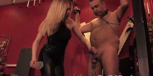 Mistress puts stupid sub through cbt