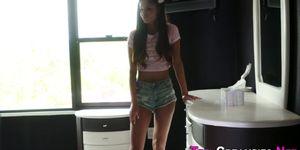 Latin teen oozes creampie