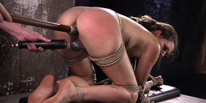 Inked submissive dildoed deeply in rough BDSM