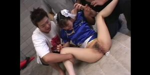 Chun-Li Cosplay Japanese Babe groped in huge bukkake gangbang