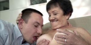 Granny with big booty getting a big cock in pussy