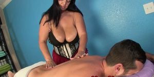 CUMBLASTCITY - Bigtitted masseuse tugging pathetic client