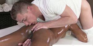 Ebony massage beauty rimmed and doggystyled