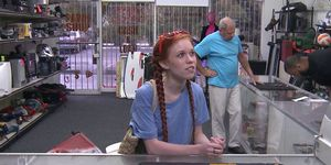 SEEN 50 TIMES-Pigtailed redhead pawnee facialized for cash