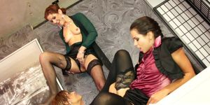 Pee fetish lesbos toying and eating pussy