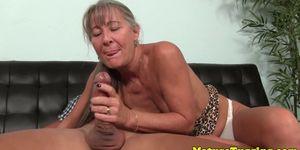 Highheeled granny jerking dick until cumshot
