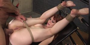 Caged bdsm stud gets creampied
