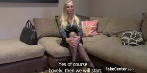 Blonde stockings gal fucked on casting