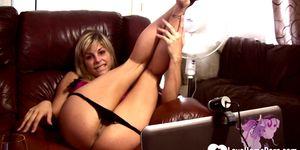 LOVEHOMEPORN - Astonishing blonde babysitter has fun while masturbating