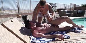 Mature Billy Santoro anally fucks inked jock Brandon Wilde