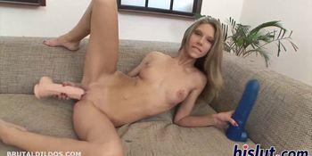 Slender blonde masturbates with sex toys