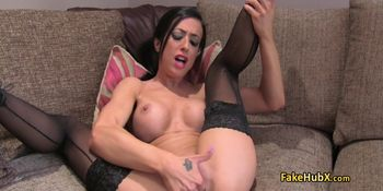 Brunette drained agents balls on casting