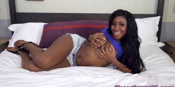 Chubby black teen jizzed