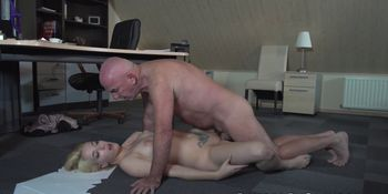 Office babe busted masturbating and fucked by old man