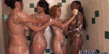 Four lassies take a shower together
