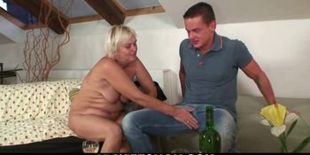 Boozed blonde mother in law seduces him