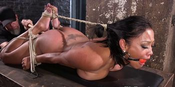 Submissive babe tiedup and dildoed in pussy