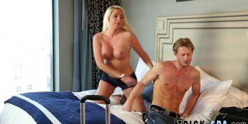 Blonde masseuse blows
