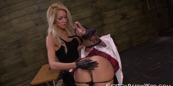 Inked schoolgirl Alby Rydes ravaged with domina strapon